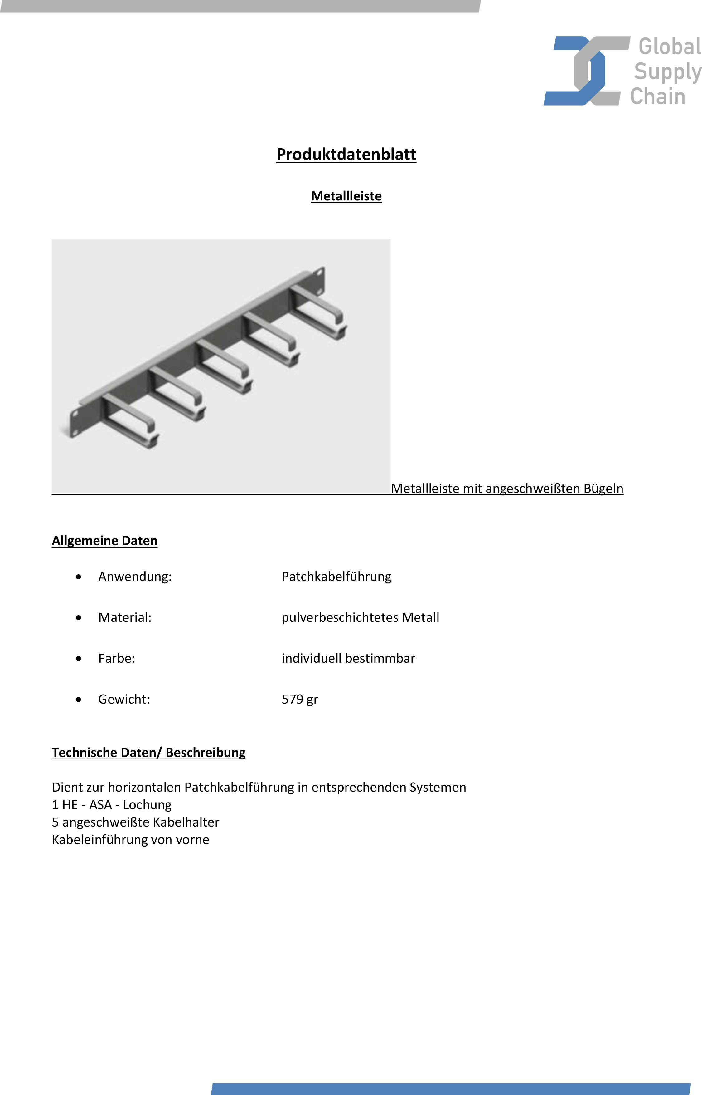 Produktdatenblatt Leiste mit angeschweißten Bügeln
