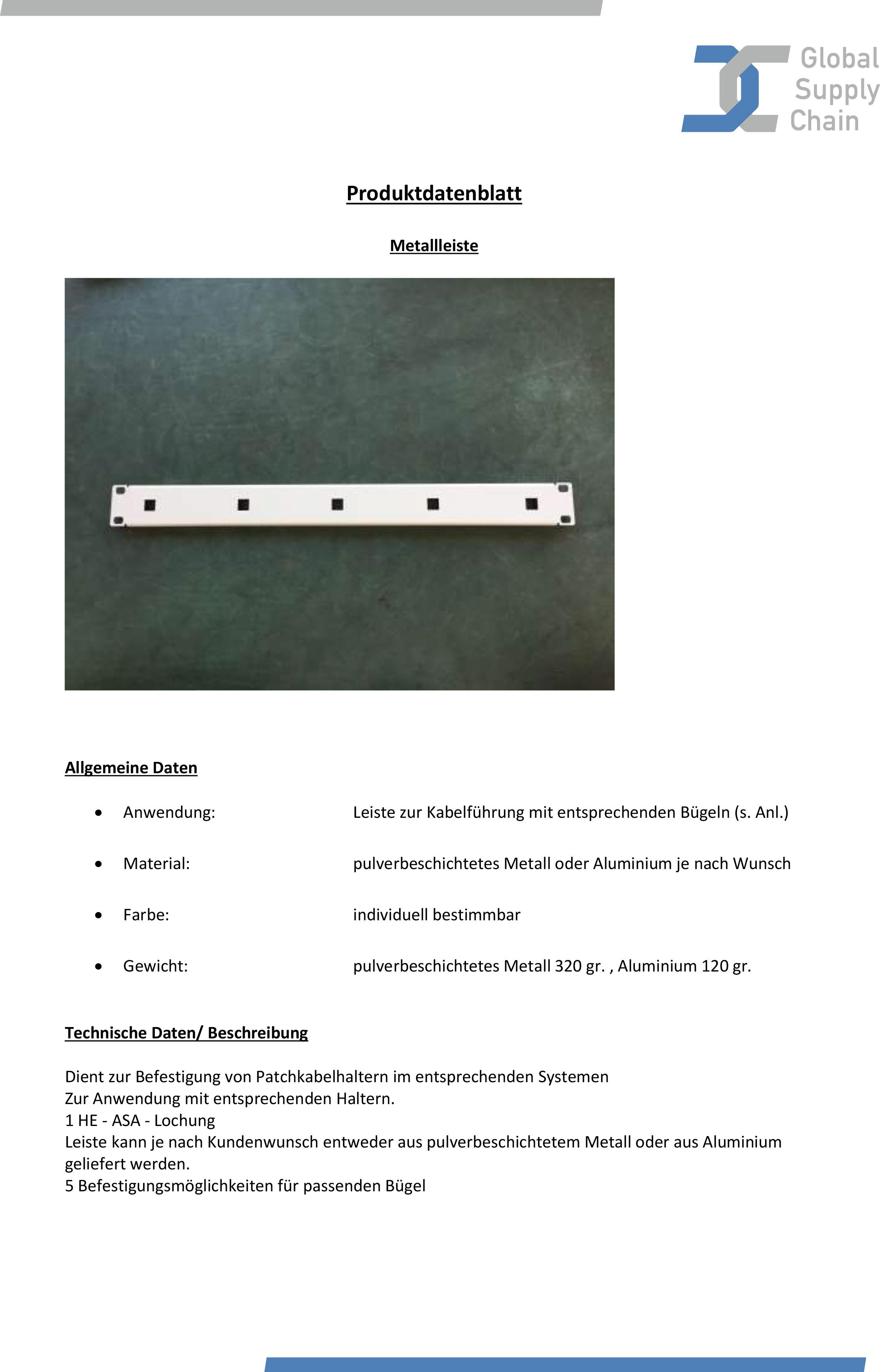 Produktdatenblatt Metallleiste GSC