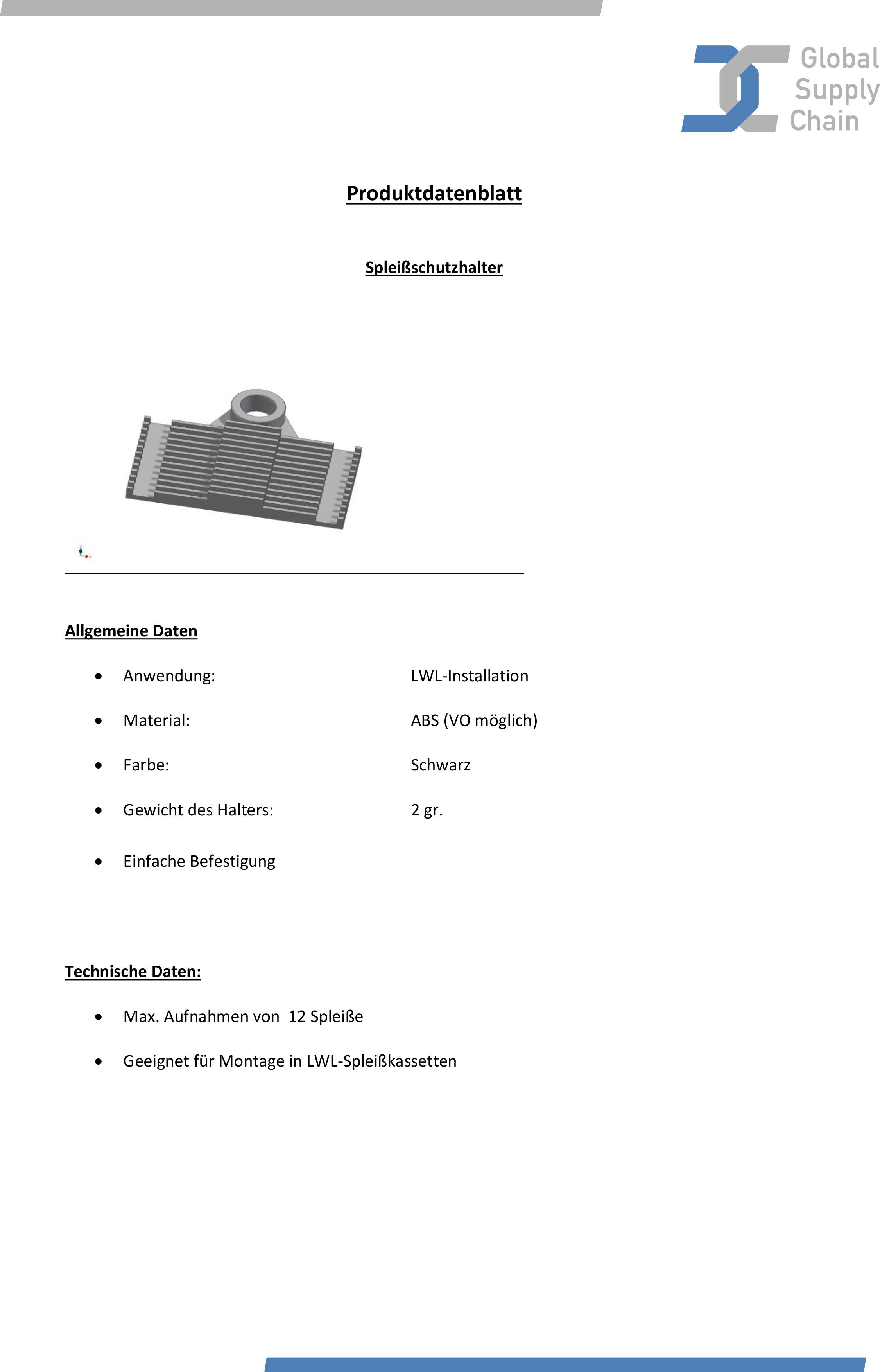 Produktdatenblatt Spleißschutzhalter